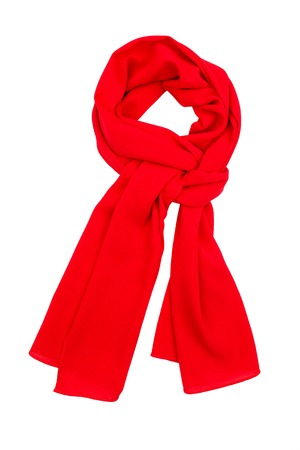 red and white: Red silk scarf isolated on white background. Female accessory.