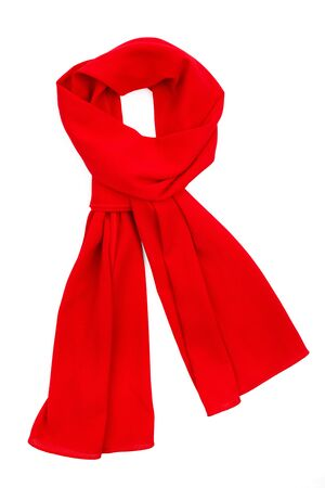 scarf: Red silk scarf isolated on white background. Female accessory.