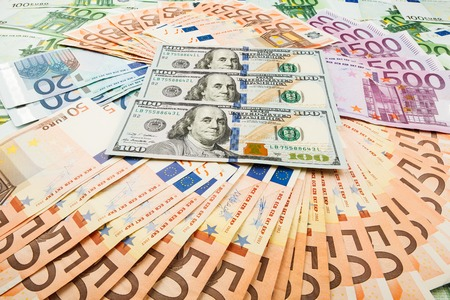 dolar: paper money euro and dolar. background of banknotes for the screen saver on the monitor.