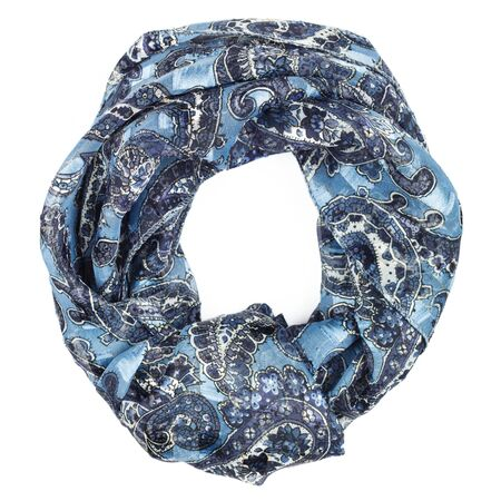 blue silk: Blue silk scarf isolated on white background.  Female accessory. Stock Photo