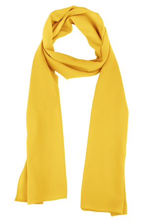 silk wool: Yellow silk scarf isolated on white background.  Female accessory.