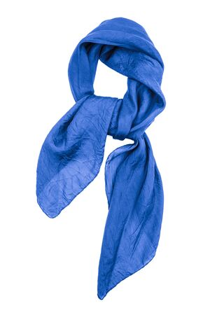 scarf: Blue silk scarf isolated on white background.  Female accessory. Stock Photo