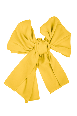silk scarf: Yellow silk scarf folded like bow isolated on white background.  Female accessory.