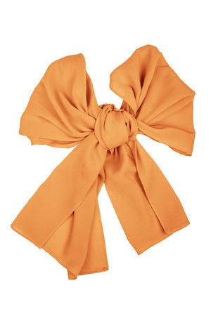 silk scarf: Orange silk scarf folded like bow isolated on white background.  Female accessory. Stock Photo