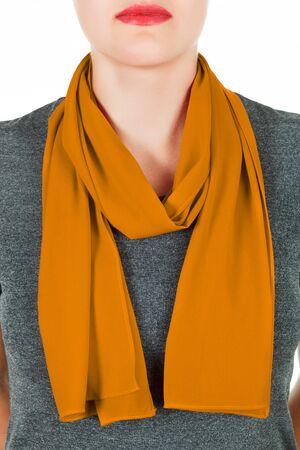 silk scarf: Silk scarf. Orange silk scarf around her neck isolated on white background. Female accessory.
