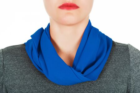 scarf: Silk scarf. Blue silk scarf around her neck isolated on white background. Female accessory.
