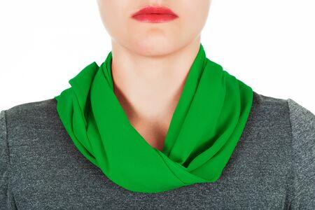 silk scarf: Silk scarf. Green silk scarf around her neck isolated on white background. Female accessory.