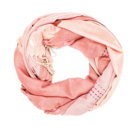 silk scarf: Pink silk scarf isolated on white background.  Female accessory.