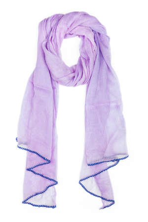 silk scarf: Lilac silk scarf isolated on white background.  Female accessory.