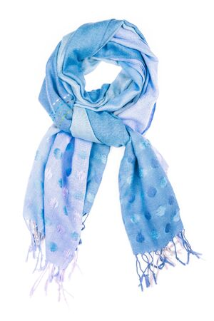 silk scarf: Blue silk scarf isolated on white background.  Female accessory. Stock Photo