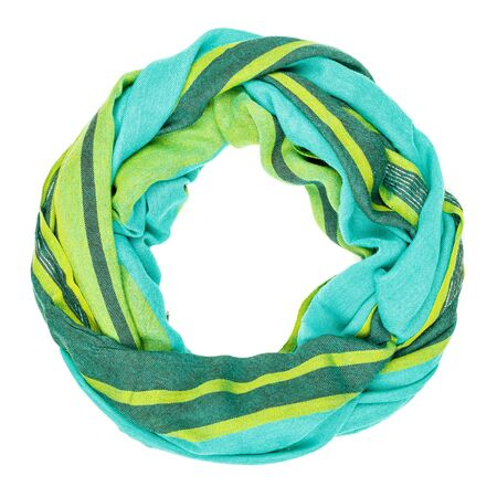 silk scarf: Green silk scarf isolated on white background.  Female accessory. Stock Photo