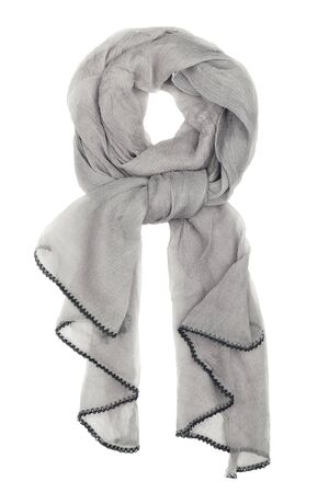 silk scarf: Gray silk scarf isolated on white background.  Female accessory.