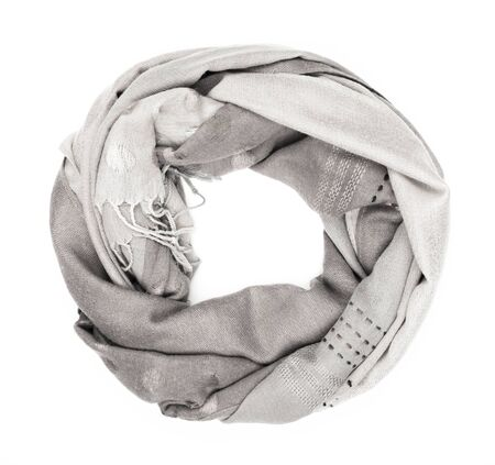 scarf: Gray silk scarf isolated on white background.  Female accessory.