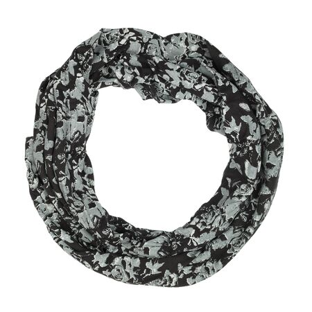 black silk: Black silk scarf isolated on white background.  Female accessory.