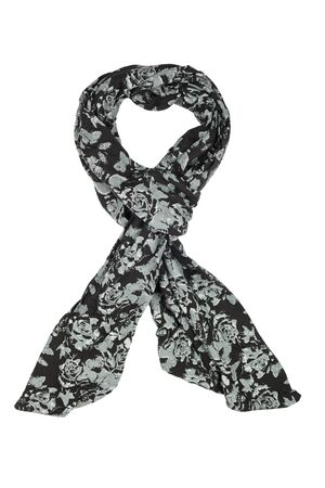 silk scarf: Black silk scarf isolated on white background.  Female accessory.