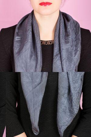 silk scarf: Silk scarf. Gray silk scarf around her neck isolated on white background. Female accessory.