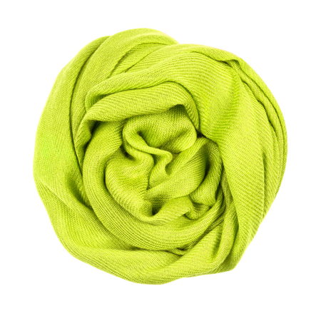 Yellow wool scarf isolated on white background. Female accessory.