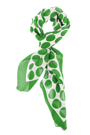 Green silk scarf isolated on white background. Female accessory.