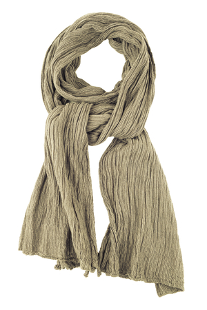 Grey wool scarf isolated on white background. Female accessory.