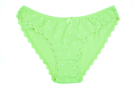 Womens cotton panties flowered isolated on white background. Green underwear.