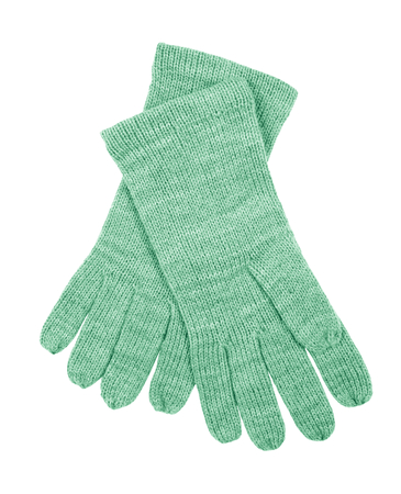 Green wool gloves isolated on white background. Female accessory.