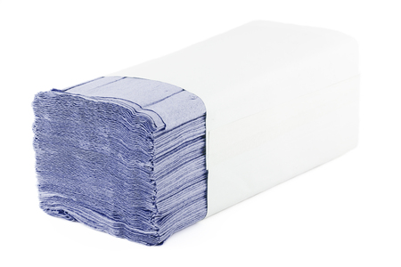 Paper towels isolated on white background. Pack of paper napkins.