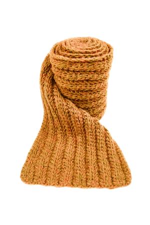 Orange wool scarf isolated on white background. Female accessory. Stock Photo