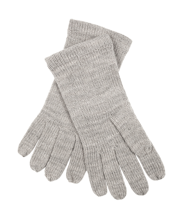 Grey wool gloves isolated on white background. Female accessory.