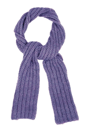 Lilac wool scarf isolated on white background. Female accessory. Stock Photo