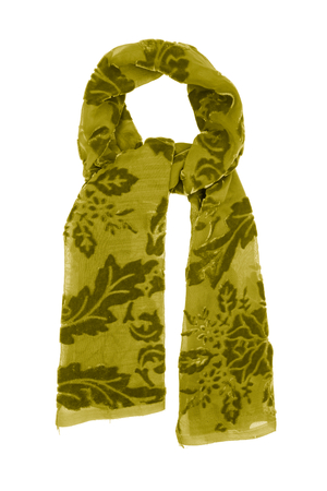 Yellow silk scarf isolated on white background. Female accessory.