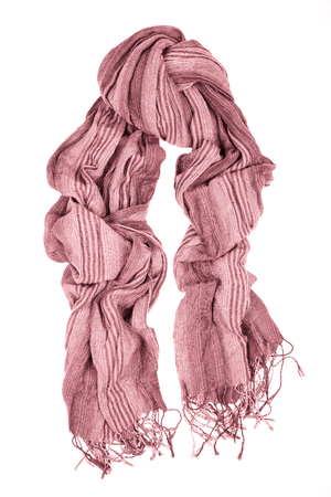 Pink wool scarf isolated on white background. Female accessory. Stock Photo