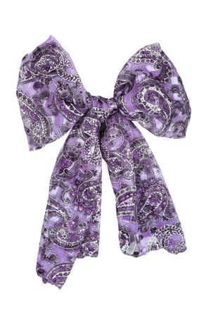 Lilac silk scarf isolated on white background. Female accessory.