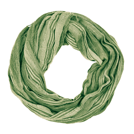 Green wool scarf isolated on white background. Female accessory.
