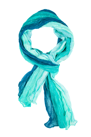 Blue silk scarf isolated on white background. Female accessory.