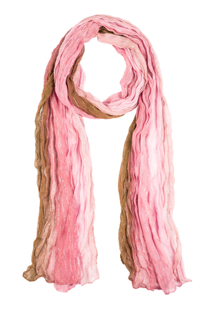 Pink silk scarf isolated on white background. Female accessory.