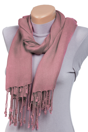 Pink scarf on mannequin isolated on white background. Female accessory.