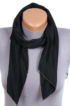 Black scarf on mannequin isolated on white background. Female accessory. Фото со стока