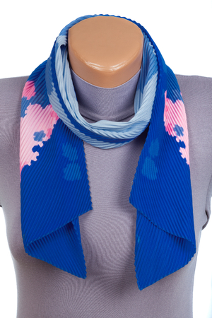 Blue scarf on mannequin isolated on white background. Female accessory.