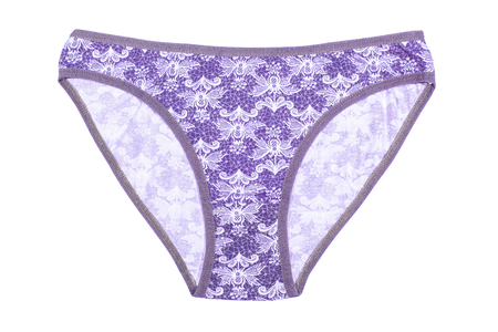Women's cotton panties flowered isolated on white background. Lilac underwear. Reklamní fotografie