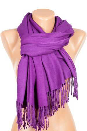 Lilac scarf on mannequin isolated on white background. Female accessory.
