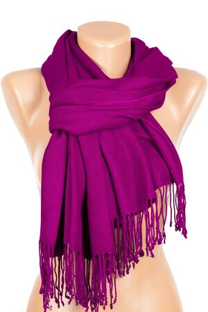 Lilac scarf on mannequin isolated on white background. Female accessory. Zdjęcie Seryjne