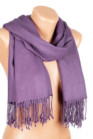 Lilac scarf on mannequin isolated on white background. Female accessory. Stock fotó