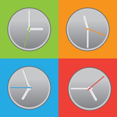 metering: four colored clock with different time Illustration
