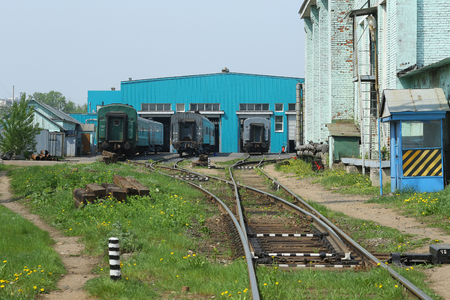 depot: MOSCOW, RUSSIA - may 13, 2013: Moscow railway depot. Place of stand, repair and equipment of trains