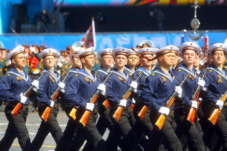 multiple targets: MOSCOW, 07 MAY, 2015: Russian sailors in uniform of World War II march through Red Square during the final rehearsal of the Victory Day military parade on Red square in Moscow, Russia Editorial