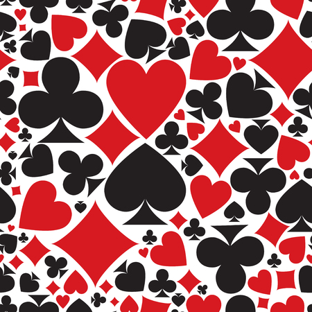 Poker pattern. vector seamless casino background or texture with card suits