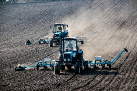 agronomic: Blue tractors with sowers on the field in bright sunny spring morning Stock Photo