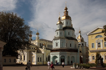 kharkov: Complex of buildings St  Intercession orthodox Monastery in Kharkiv, Ukraine in a summer day