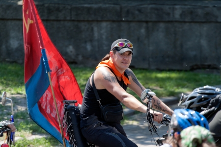 v cycle: KHARKIV, UKRAINE - MAY 19: Action within the Ukrainian Bicycle Day in Kharkiv, Ukraine on May 19, 2013 Editorial