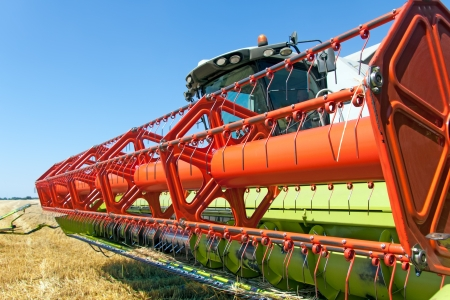 farm machinery: Combine harvests wheat on a field in sunny summer day